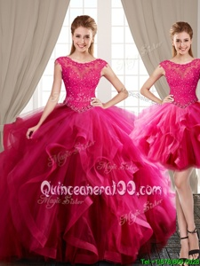 Spectacular Three Piece Scoop Cap Sleeves Tulle With Brush Train Lace Up Quinceanera Dress inHot Pink forSpring and Summer and Fall and Winter withBeading and Appliques and Ruffles