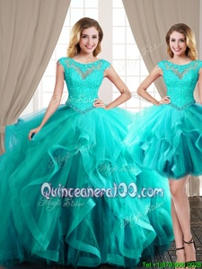 Classical Three Piece Scoop Cap Sleeves Brush Train Lace Up Ball Gown Prom Dress Aqua Blue Tulle