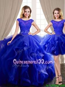 Pretty Three Piece Scoop Royal Blue Lace Up Quinceanera Dress Beading and Appliques and Ruffles Cap Sleeves With Brush Train