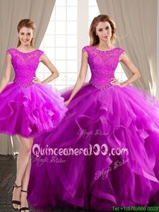 Glorious Three Piece Scoop Fuchsia Cap Sleeves Tulle Brush Train Lace Up Sweet 16 Quinceanera Dress forMilitary Ball and Sweet 16 and Quinceanera