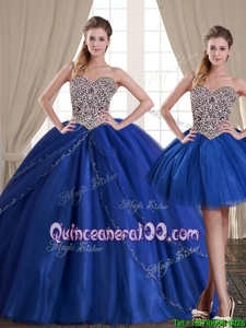 Cheap Three Piece Floor Length Royal Blue Sweet 16 Dresses Tulle Sleeveless Spring and Summer and Fall and Winter Beading