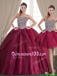 Hot Sale Three Piece Sleeveless Tulle Floor Length Lace Up Sweet 16 Dresses inBurgundy forSpring and Summer and Fall and Winter withBeading