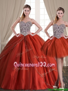 Three Piece Rust Red Sweetheart Neckline Beading Sweet 16 Quinceanera Dress Sleeveless Lace Up