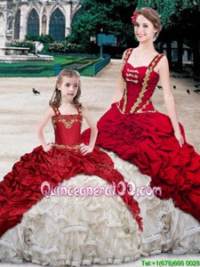 Customized White And Red Straps Lace Up Beading and Ruffles and Pick Ups Ball Gown Prom Dress Brush Train Sleeveless