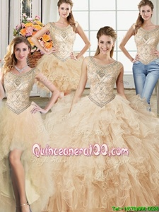 Charming Four Piece Scoop Champagne Tulle Lace Up Sweet 16 Quinceanera Dress Sleeveless Floor Length Beading and Ruffles