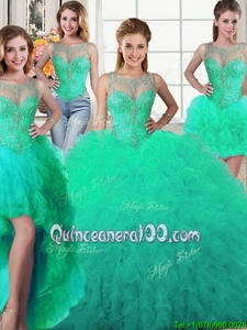 Customized Four Piece Scoop Turquoise Lace Up Sweet 16 Dress Beading and Ruffles Sleeveless Floor Length