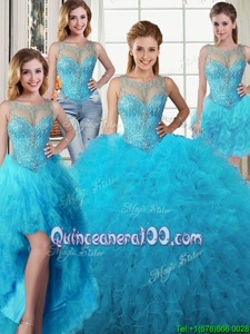 Fitting Four Piece Scoop Beading and Ruffles Vestidos de Quinceanera Baby Blue Lace Up Sleeveless Floor Length