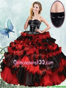 Dazzling Sleeveless Floor Length Beading and Ruffled Layers Lace Up Quince Ball Gowns with Black and Red
