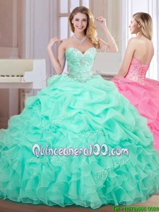 Apple Green Organza Lace Up Sweetheart Sleeveless Floor Length Quinceanera Gowns Beading and Ruffles and Pick Ups
