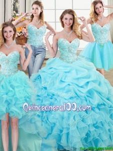 Gorgeous Four Piece Pick Ups Floor Length Ball Gowns Sleeveless Aqua Blue Sweet 16 Quinceanera Dress Lace Up