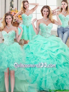 Simple Four Piece Apple Green Lace Up Sweetheart Beading and Ruffles and Pick Ups 15th Birthday Dress Organza Sleeveless