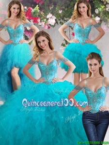 Designer Four Piece Off the Shoulder Beading and Ruffles Vestidos de Quinceanera Teal Lace Up Sleeveless Floor Length