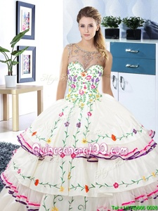 Suitable Ruffled Floor Length White Sweet 16 Dresses Scoop Sleeveless Lace Up