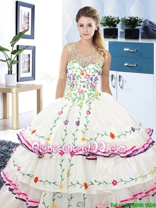 Unique Ruffled Ball Gowns Sweet 16 Dresses White Scoop Organza and Taffeta Sleeveless Floor Length Lace Up