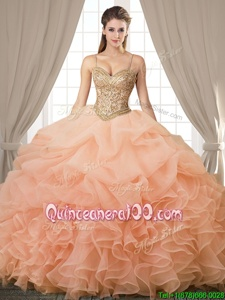 Pretty Peach Sleeveless Beading and Ruffles and Pick Ups Floor Length Vestidos de Quinceanera
