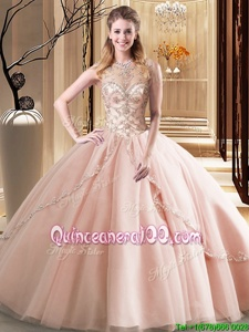 Scoop Peach Sleeveless Beading Lace Up Sweet 16 Dresses