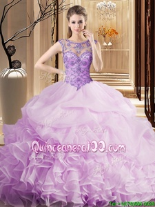 Nice Scoop Pick Ups Lilac Sleeveless Organza Brush Train Lace Up Sweet 16 Quinceanera Dress forMilitary Ball and Sweet 16 and Quinceanera