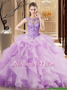 Exceptional Scoop Lace Up Vestidos de Quinceanera Lavender and In forMilitary Ball and Sweet 16 and Quinceanera withBeading and Ruffles Brush Train