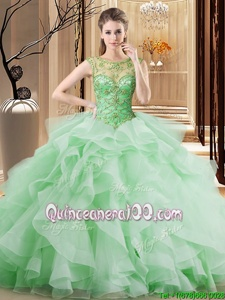 Edgy Spring Green Quinceanera Gowns Military Ball and Sweet 16 and Quinceanera and For withBeading and Ruffles Scoop Sleeveless Brush Train Lace Up