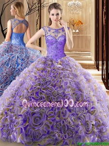 Clearance Scoop Lavender Sleeveless Brush Train Beading Sweet 16 Dress