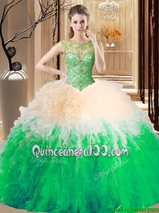 Fashion Scoop Floor Length Multi-color Quince Ball Gowns Tulle Sleeveless Spring and Summer and Fall and Winter Beading