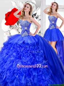 Dazzling Three Piece Sleeveless Floor Length Beading and Ruffles Lace Up 15th Birthday Dress with Blue