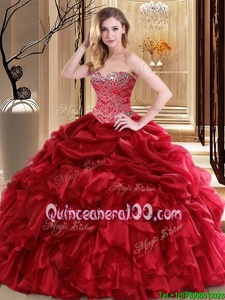 Red Ball Gowns Organza Sweetheart Sleeveless Beading and Pick Ups Floor Length Lace Up Quinceanera Gowns