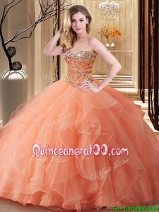 Custom Designed Orange Ball Gowns Sweetheart Sleeveless Tulle Floor Length Lace Up Beading Quinceanera Gown
