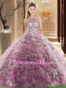 Sleeveless Fabric With Rolling Flowers Brush Train Criss Cross Quinceanera Dress inMulti-color forSpring and Summer and Fall and Winter withRuffles and Pattern