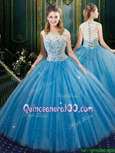 Discount Floor Length Zipper Sweet 16 Dress Blue and In forMilitary Ball and Sweet 16 and Quinceanera withLace