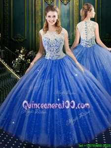 Noble Royal Blue Quinceanera Dresses Military Ball and Sweet 16 and Quinceanera and For withLace High-neck Sleeveless Zipper
