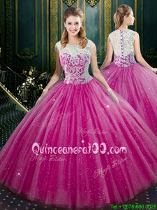 Sexy Fuchsia Ball Gowns Lace Quinceanera Gown Zipper Tulle Sleeveless Floor Length