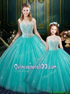 Fantastic Sleeveless Floor Length Lace Zipper Vestidos de Quinceanera with Turquoise