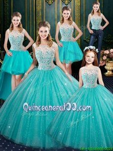 Customized Sleeveless Lace Lace Up Quinceanera Dress