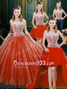 Glittering Four Piece Floor Length Orange Red Quinceanera Dresses Tulle Sleeveless Spring and Summer and Fall and Winter Beading and Lace