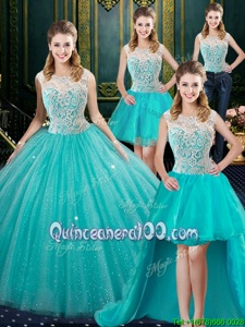 Low Price Four Piece Aqua Blue Zipper Quince Ball Gowns Lace Sleeveless Floor Length