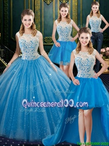 Fantastic Four Piece Baby Blue High-neck Zipper Lace Sweet 16 Dress Brush Train Sleeveless