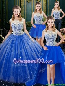 Extravagant Four Piece Royal Blue Sleeveless Brush Train Lace Floor Length Ball Gown Prom Dress