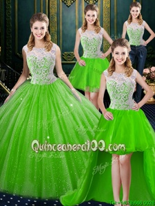 Sexy Four Piece Spring Green Ball Gowns Tulle High-neck Sleeveless Lace Floor Length Zipper Sweet 16 Quinceanera Dress Brush Train