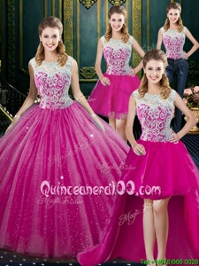 Popular Four Piece High-neck Sleeveless Tulle Ball Gown Prom Dress Lace Zipper