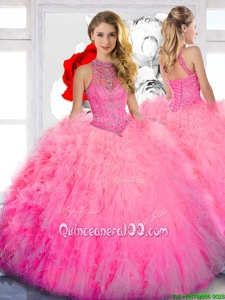 Designer Baby Pink Ball Gowns High-neck Sleeveless Tulle Floor Length Lace Up Beading Vestidos de Quinceanera