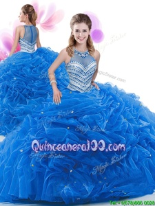 Ideal Spring and Summer and Fall and Winter Organza Sleeveless 15 Quinceanera Dress Court Train andRuffles