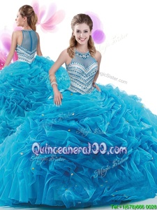 Great High-neck Sleeveless Quinceanera Gowns Court Train Ruffles Baby Blue Organza