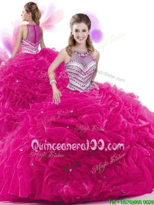 Fabulous Fuchsia Taffeta Zipper High-neck Sleeveless Quince Ball Gowns Court Train Ruffles and Pick Ups