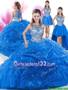 Fashionable Four Piece Royal Blue High-neck Neckline Beading and Pick Ups Quinceanera Dresses Sleeveless Zipper