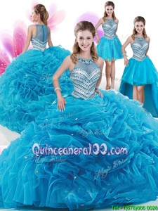 Comfortable Four Piece Aqua Blue Zipper High-neck Ruffles and Pick Ups Quinceanera Dress Organza Sleeveless Court Train