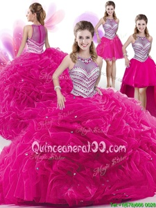 Custom Design Four Piece Spring and Summer and Fall and Winter Organza Sleeveless Floor Length Sweet 16 Dresses andBeading and Pick Ups