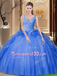 Flirting Royal Blue Ball Gowns Sequins and Pick Ups 15 Quinceanera Dress Backless Tulle Sleeveless Floor Length