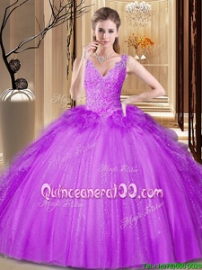 Elegant Sequins Floor Length Ball Gowns Sleeveless Purple Quinceanera Dresses Backless