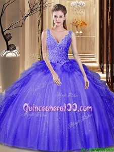 Floor Length Backless Vestidos de Quinceanera Lavender and In forMilitary Ball and Sweet 16 and Quinceanera withAppliques and Ruffles and Sequins
